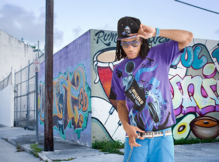 Photographer Tom Clark shoots hip hop artist Dru-Ski on the streets of Miami