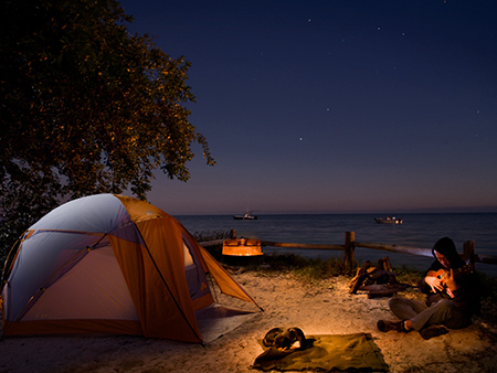 Photographer, father and dog camping in the Florida Keys