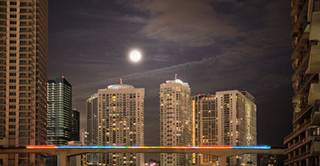 Blue Moon Over Miami Skyline by Photographer Tom Clark
